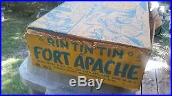 Marx 1955 RIN-TIN-TIN FORT APACHE FORT Original Playset with Tin Litho Cabin