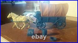 Marx 1959 BLUE WAGON withTAN TOP GUNSMOKE Western PLAYSET