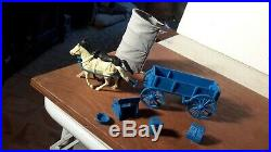 Marx 1959 Original BLUE Wagon withDark Gray Top Wagon Train Ringo WesternPlayset