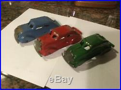 Marx 3 Different Prewar Red, Green, Blue Chrysler Airflow for Play sets