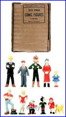 Marx 3111 Pmo Comic Figures Vintage Rare Complete! Dick Tracy-orphan Annie