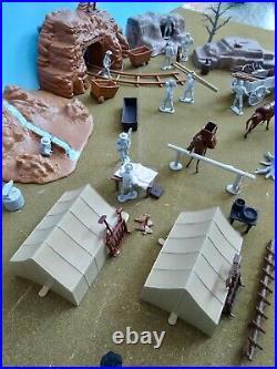 Marx 54mm custom playset Wild West mining camp 13 figs + rocks+ tents ++used oop
