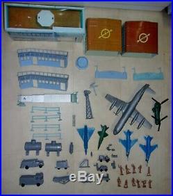 Marx Astro Jet Airport Play Set Jet port Tin Litho toy plastic airplane lot jet