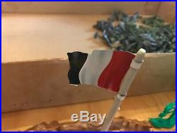 Marx Battleground playset Boxed German US Marine Toy Soldiers Tank flags cannons