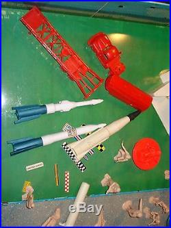 Marx Cape Canaveral Missle set Cape Kennedy Carry all Parts lot. BOX HELICOPTOR