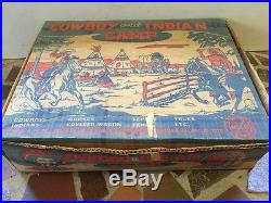 Marx Cowboy and Indian Camp Playset with Box 1950s Vintage Original