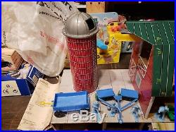 Marx Farm Set with Tin Litho Building, Silo, and Accessories