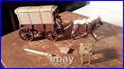 Marx Fort Apache BROWN SUPPLY WAGON withTAN TOP Western Civil War PLAYSET