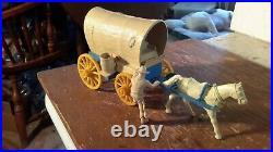 Marx ORIGINAL 60mm WAGON withtan top withSeat/Barrel Custer Wagon Train Western