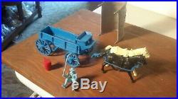 Marx Original 1959 BLUE Wagon, Ringo, Wagon Train withdark Gray Top Playset