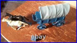 Marx Original Blue WAGON withBLUE TOP WAGON TRAIN GUNSMOKE Western PLAYSET