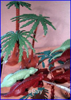 Marx Prehistoric Times Play Set 3394 Box Dinosaurs Trees Stone Terrain 1956 Vint