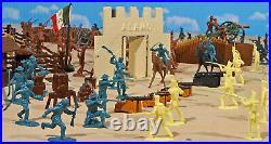 Marx Recast Grand Alamo Playset 54mm Plastic Soldiers w Marx litho Alamo fort