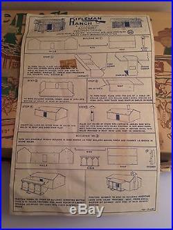 Marx Rifleman Ranch Playset Box Instructions Lucas Mark Cowboys Tin Building