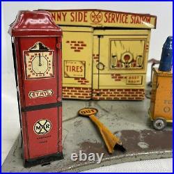 Marx Sunny Side Service Station Pressed Steel Tin Litho 1930s