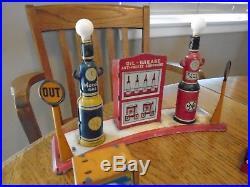 Marx Toy Gas Station set Tin Gas Pumps Service Island Motor Oil Tool Box