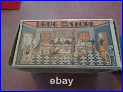 Marx Toy Home Town Drug Store play set with BOX Near Mint Condition