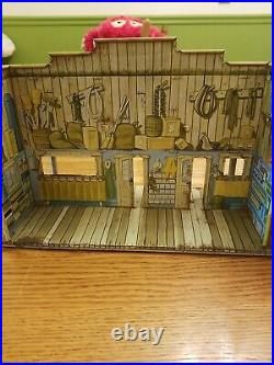 Marx Toys Jail Side Western Town Street Front General Store 1955 Tin Lithograph
