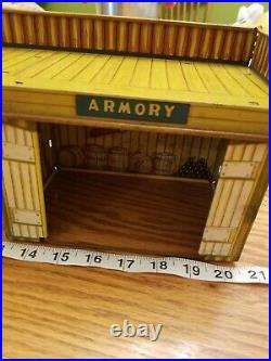 Marx Toys Regiment Headquarts Armory Western Town Street Tin Lithograph 50's