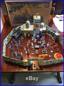 Marx Vtg Official Tom Corbett Space Academy Playset Car Figures Tin Box Nice