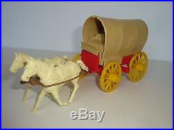 Marx Wagon Train / Complete 60mm Buckboard / Covered Wagon / In HTF Red