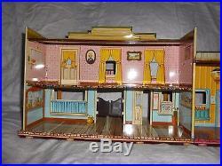 Marx Western Town Hotel Side Dodge City edition Roy Rogers Wagon Train tin litho