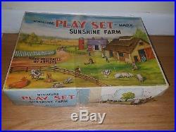 Marx miniature playset Sunshine Farm vintage toy rare tin windup figures cars