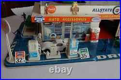 Marx playset Antique auto service center / highly detailed / late 50's