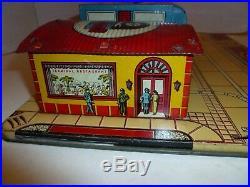 Marx tin litho Greyhound Bus station vintage art deco design early playset