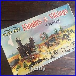 Near Mint Vintage MARX 1960's Knights & Vikings Miniature Playset Hong Kong