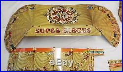 Old Antique MARX Toy SUPER CIRCUS Play Set with Box 69 Figurines 2 Flags + More