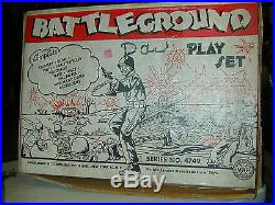 Original 1950's Marx Battleground Playset 4749 with Accessories Nice With Box