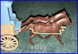 Original MARX Custers Last Stand Playset Tan Wagon With Blue Ambulance Top