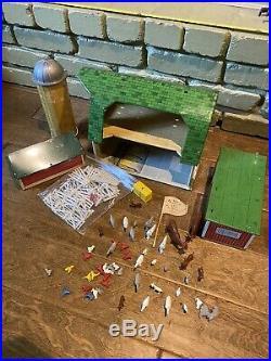 Original Marx 1950s Farm Play Set Happi Time Barn Chicken Coup, Silo, Animals