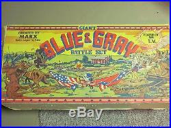 RARE 1961 MARX Giant Blue & Gray Civil War Playset 200+ Pieces with Box &Mansion