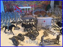RARE 1961 MARX Giant Blue & Gray Civil War Playset 300+ Pieces with Box & Paint