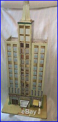 RARE MARX c 1950STHE SKYSCRAPER BUILDING TIN LITHO TOY PLAYSET EMPIRE STATE BLD