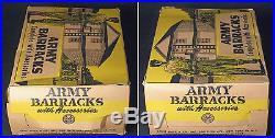 RARE ORIGINAL VINTAG MARX MARXVILLE ARMY BARRACKS PLAY SET in Orig. Box w Access