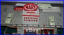RARE! W@W TOY VINTAGE METAL MARX SERVICE GAS STATION WITH CARS & Accessories