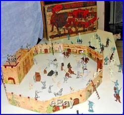 RARE1955 MARX WALT DISNEY DAVY CROCKETT ALAMO PLAYSET ORIGINAL BOX & Contients