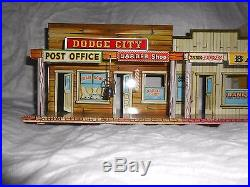 REDUCED Marx Western Town Hotel Side Dodge City tin litho Roy Rogers Wagon Train