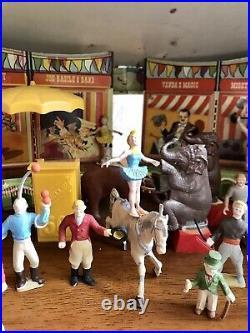 Rare 1950's Marx The Big Top Circus, Beautiful Set Animals, Clowns, 84 Pieces