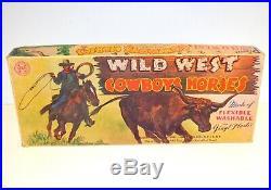 Rare 1950s Marx Annie Oakley Wild West Cowboys & Horses Plastic Figure Set Mint