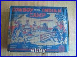 Rare 1953 MARX Cowboy & Indian Camp playset 100% Complete in C-8 Box withDiv, Bags