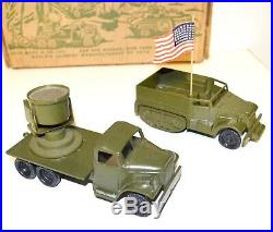 Rare Vintage 1950s Marx U. S. Army Mobile Playset Flat Bed Trucks Box More