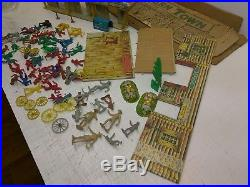 Rare Vintage Marx Western Town 2 Buildings 2 Rare Tin Town Fronts Plus Extras