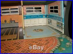 Tin Litho Ranch Doll House Marx Toys L Shaped with Period Furniture