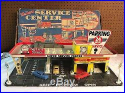VINTAGE 1950's MARX Modern Gas SERVICE STATION Center 24 Hour Set W Original Box