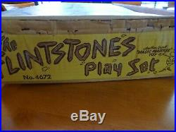 VINTAGE 1961 MARX #4672 THE FLINTSTONE'S PLAY SET WithEXTRA FIGURES & ACCESSORIES