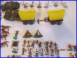 Vintage Marx Miniature Covered Wagon Attack Playset
